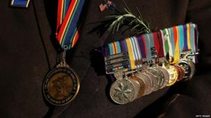A war veteran's medals are displayed prior to the Anzac Day parade on 25 April 2013 in Sydney, Australia.