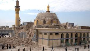 The damaged Askariya shrine following an explosion in Samarra, 95 km (60 miles) north of Baghdad
