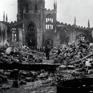 The ruins of Coventry Cathedral, Warwickshire, after the medieval building was destroyed by Luftwaffe bombs in 1940 during World War II
