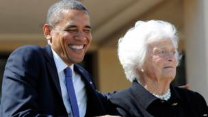 President Barack Obama and former First Lady Barbara Bush at the opening of the George W Bush Library in Dallas, Texas (25 April 2013)