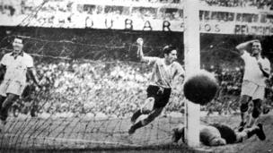 Uruguay player Ghiggia scores during the World Cup Final, against Brazil in the Maracana Stadium in Rio de Janeiro, Brazil, July 16, 1950. Uruguay defeated Brazil 2-1 to win the Rimet Cup.