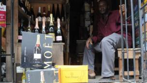 A stall in Lagos full of champagne, Nigeria - Tuesday 23 February 2013