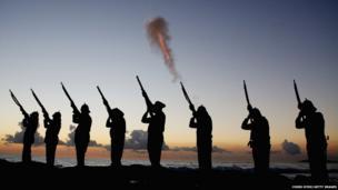 Albert Battery shoot a volley of fire