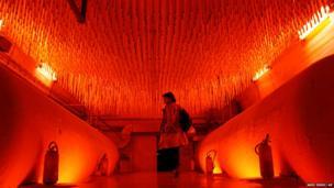 Villu Jaanisoo's red light installation inside a former nuclear bunker in Bosnia