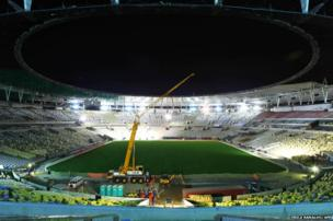 Maracana football stadium in Rio de Janeiro, Brazil taken on March 27, 2013 during renovation works for the 2014 World Cup - including the construction of a roof.