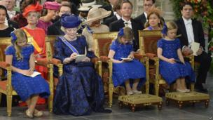 Dutch Princess Beatrix and her granddaughters - Catharina-Amalia, Alexia and Ariane - attend the inauguration at the Nieuwe Kerk, Amsterdam, on 30 April 2013