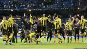 Borussia Dortmund players celebrate