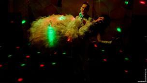 Kazkh gay couple dancing