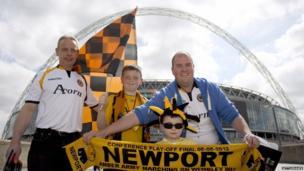 Newport fans walk down Wembley way ahead of the play-off final