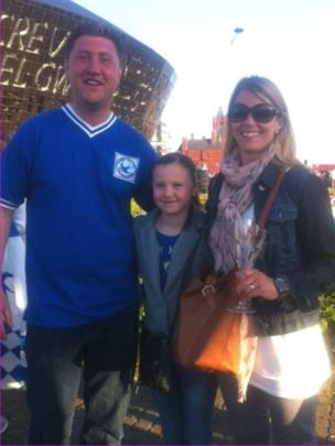Cardiff fans Mark and Jane Fenner and daughter Anwen said the carnival atmosphere reminded them of the Olympics last year