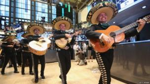 Mariachis arrive at the New York Sock Exchange on 3 May 2013