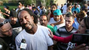 Neighbour Charles Ramsey, being interviewed by reporters, 6 May 2013