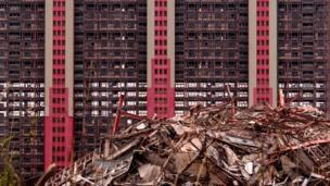 Demolished and abandoned flats
