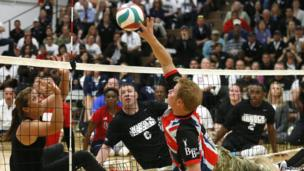 Prince Harry playing sitting volleyball at the Warrior Games