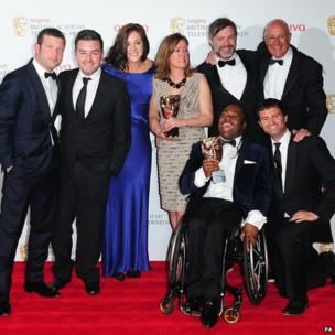 Presenter Dermot O'Leary, Alex Brooker, Rachel Lathan, Deborah Poulton, Ade Adepitan, Gary Franses and Giles Long with the sport and live event award for The London 2012 Paralympic Games
