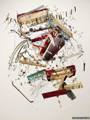 Disassembled accordion