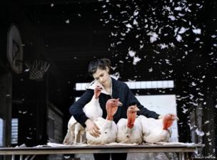 Sienna with turkeys