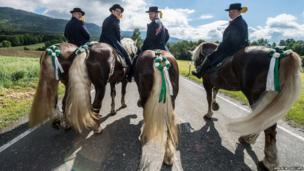 Riders participate in the Koetzting Pentecost Ride near Bad Koetzting, southern Germany