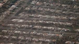 Flattened homes in Moore
