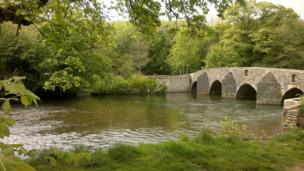 The dipping bridge at Merthyr Mawr, Bridgend