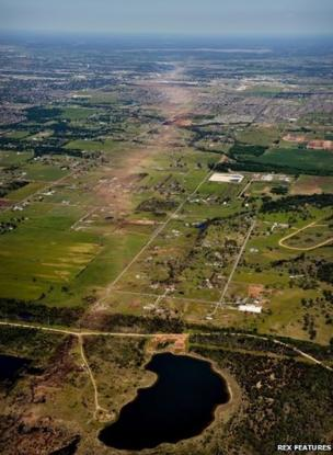 Arial view of the city Moore in Oklahoma