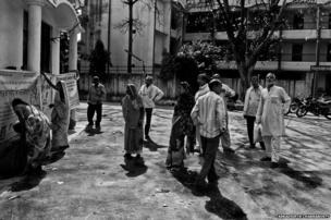 People outside Mritak Sangh office