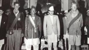 Edmund Hillary and Tenzing Norgay with the King of Nepal