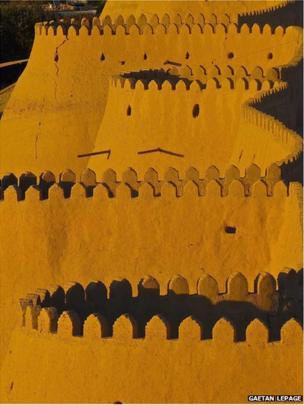 Old city walls in Khiva