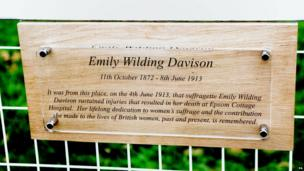 A plaque to Emily Wilding Davison