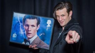 Matt Smith with his 50th anniversary stamp