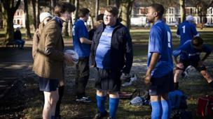 Matt Smith's Doctor playing football