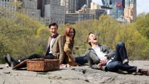 Matt Smith with his former co-stars Karen Gillan and Arthur Darvill