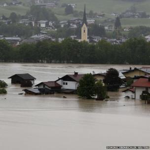 The flooded western Austrian village of Koessen after heavy rainfalls June 2, 2013