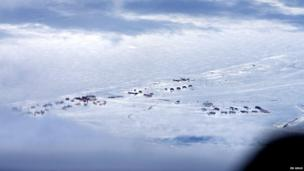 Wales, Alaska seen through the window of an aeroplane