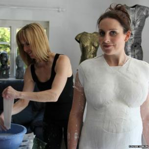 Rachel Lamb being cast for artwork