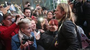 Actor Brad Pitt greets fans and signs autographs in Berlin, Germany