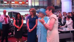 The Queen in the BBC newsroom at New Broadcasting House
