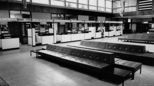 Booking desks at East Midands Airport, 1965