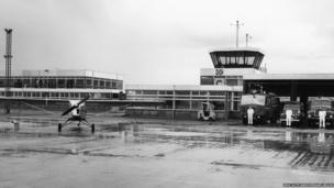Fire crews at East Midlands Airport, 1965