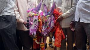 Newly-wed donkeys stand with farmers after a marriage ceremony in Mumbai June 5, 2013. According to a local Hindu belief, the marriage of donkeys speeds up the arrival of monsoon rains