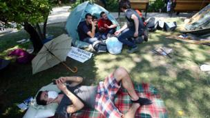 Turkish protesters rest in Kugulu Park, Ankara, 10 June 2013
