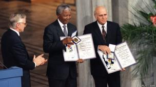 Nelson Mandela receives the Nobel Peace Prize in 1993