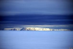 Wales coast in foreground and the two Diomede islands