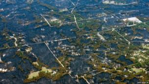 Blackened areas define the path of a wildfire in the Black Forest region northeast of Colorado Springs