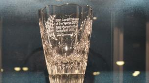 The trophy to be awarded to this year's BBC Cardiff Singer of the World winner