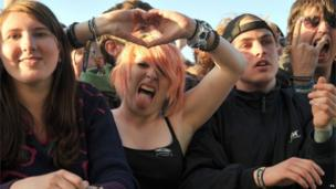 Fans watch as Enter Shikari perform during the Download festival on Saturday
