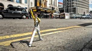 Freddie Mercury figurine outside the Dominion Theatre