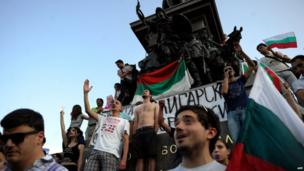 Protesters shout anti-government slogans on June 18, 2013 during a protest in front of the parliament in the centre of Sofia.