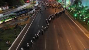 Police lines in Brasilia (19 June)