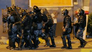 Police take up positions in Niteroi, near Rio de Janeiro (19 June)